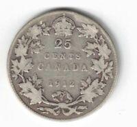 CANADA 1912 TWENTY FIVE CENTS QUARTER KING GEORGE V STERLING SILVER COIN