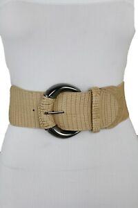 Women Elastic Beige Safari Style Fashion Wide Belt Hip High Waist Big Buckle S M