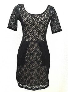 SILENCE + NOISE Womens Dress Small Black Party LBD Lace Hook Eye Stretch Fitted