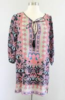 Tolani Anthropologie Silk Printed Cinched Sleeve Tunic Top / Mini Dress Size S