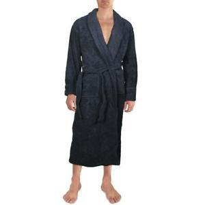 Lands' End Mens Navy Terry Cloth Long Robe Loungewear XXL 50-52 BHFO 3982