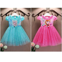 Baby Girls Disney Frozen Princess Elsa Anna Tutu Dress Party Fancy Blue Pink
