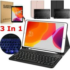 """For iPad 7th Gen 10.2"""" 2019 Wireless Keyboard Case Stand Screen Tempered Glass"""
