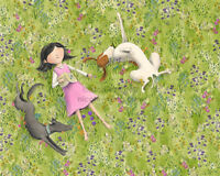 ACEO PRINT WINDY KITE FLYING girl Scottie dog pet animal childhood sky play