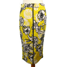 NEW River Island Size 12 Yellow Black Floral Wiggle Skirt Pencil Zip Front Party