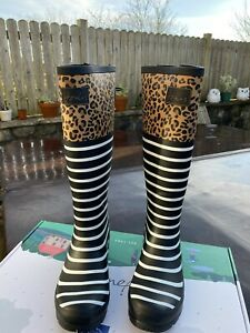 Joules Size 8 Navy & White Striped With Leopard Print Wellies Perfect Present!