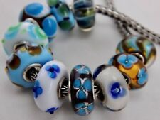AUTHENTIC TROLLBEADS OOAK Turquoise Flowers on Chocolate BEAD #7 (ONE BEAD) NEW!