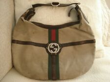 GUCCI  Large Beige w Brown Leather GG Logo Canvas Hobo Purse Shoulder Bag