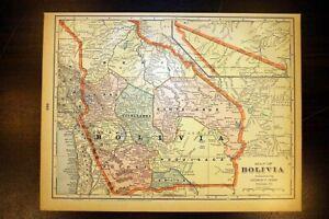 """Bolivia Antique Color Map 1901 Cram's 11"""" x 14½"""" South America"""