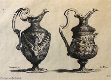 Le Pautre (1618-1682) paire d'aiguières gravée par Pequegnot estampe de 1856 ..,