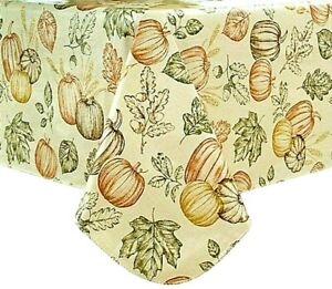 """Thanksgiving Fall Harvest Vinyl Tablecloth 52"""" x 70"""" Oblong/Oval NEW! SHIPS FREE"""