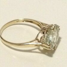 9ct gold ring, 5.35 ct. Natural Green Amethyst gemstone, real 9K gold, Size 8