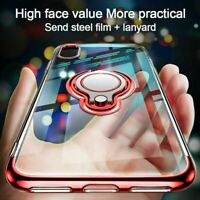 360° Clear Phone Case for Apple iPhone 12 11 XR XS 7 Ring + Tempered Glass