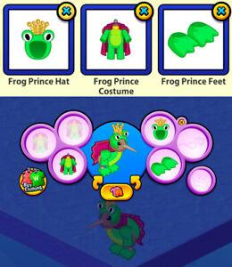 RETIRED 2013 Webkinz 3-pc Halloween Costume: Frog Prince Hat & Costume & Feet
