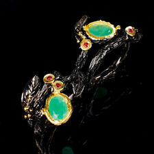 Vintage Natural Emerald 925 Sterling Silver Ring Size 6.75/R120788