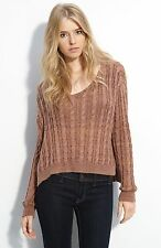 NWT Textile Elizabeth and James Brown Boxy Cable Knit Sweater size M $395