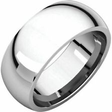 8mm 14K Solid White Gold Plain Dome Half Round Comfort Fit Wedding Band Ring