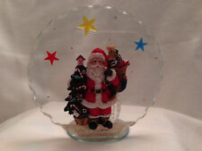 """Santa Claus Cut Glass Rare Christmas Holiday Votive Candle Holder 6""""  Gift"""