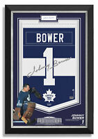 Johnny Bower Signed Toronto Maple Leaf Jersey Arena Banner Archival Etched Glass