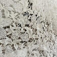 """Ivory Wedding Flower Embroidery Lace Fabric DIY for Gown Veil 47"""" Width 0.5 yard"""
