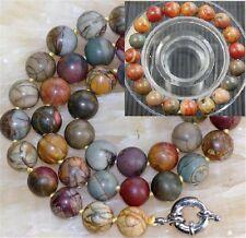 "10mm Multicolor Picasso Jasper Round Beads Necklace 18"" bracelet 7.5"" PN476"