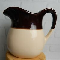 Vintage USA Art Pottery Ceramic Brown Cream Large Pitcher Collectible 6""