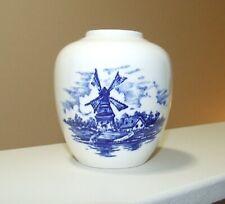 Vintage DELFT BLUE Reproduction Porcelain Vase - with Holland Windmill Scene