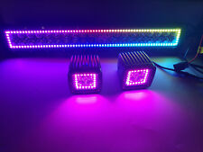 """13.5"""" LED Light Bar + 3x3"""" Cube Pods with RGB Halo Color Change Chasing Remote"""