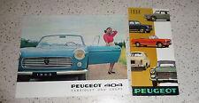 Prospectus Peugeot 403 cabriolet et coupé 1963 & Complet Programme 1964