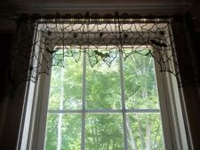 BLACK LACE VALANCE HALLOWEEN BAT SPIDER WINDOW TREATMENT 46 X 17 BWVB209