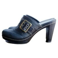 Coach shoes 7.5 M black leather C logo mules or clogs style name Candace