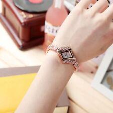 Bangle Gemstone Crystal Rhombus Women Quartz Rose Gold Gift Wrist Watch Dress