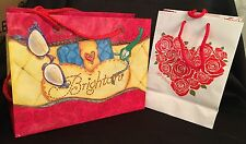 """2 Brighton Gift Shopping Bags 9 x 6"""" and 8 x 10.5"""" Euc Hearts Bloom"""