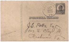 Postal Card UX20 McKinley Coca-Cola Memo West Point VA to Richmond Virginia  '09