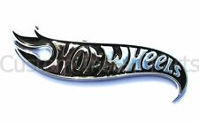 Black Painted Inlay and Chrome Finish Trim Hot Wheels Flames Emblem Decal Logo