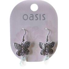 Oasis Statement Earrings Silver Butterfly Bead Design