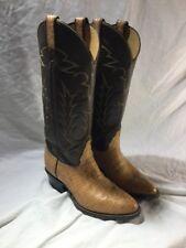EUC VTG Women's Tony Lama Tan Leather Two Tone Black Label Western Boots Sz 6.5C