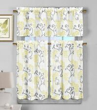 Yellow Gray Kitchen Curtains Set: Floral Pattern Design, Sheer 3 Pc.