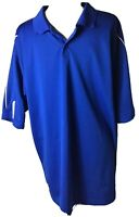 Adidas Climalite Mens Polo Top XL Royal Blue White Stip Golf Shirt Short Sleeve