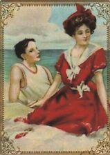 Modern Wide Linen Beach Theme P18 Pretty Lady In Water Swap Playing Card