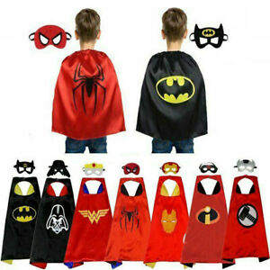 Superhero Capes With Mask Halloween Party Kids Boys Girls Cosplay Costume Gift