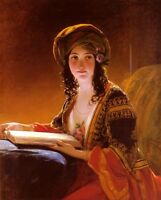 Oil painting Friedrich von Amerling - The Oriental beauty girl with roses book