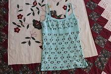 Derek Heart Juniors Small Spaghetti Strap Blue Green Top Shirt w/ Hearts