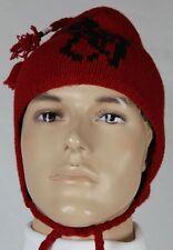 Polo Ralph Lauren Red Lambs Wool Ski Beanie Hat Skull Black Pony NWT