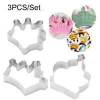 3PCS Cookie Cutters Crown Shape Biscuits Mold Wedding Baking Fondant Cake Mould