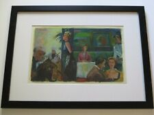 HILDA GRACE STANDLEY PAINTING ORIGINAL 1950'S FASHION RESTAURANT LOUNGE MUSICIAN