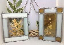 Vintage Lead Stained Glass Dried Flower Sun Catchers Hanging -2 Pc. Set