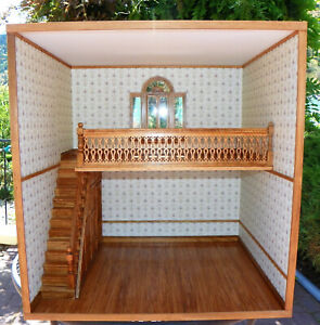 Dollhouse Miniature ROOM BOX 2 STORY STAIRS WINDOWS Vintage minithings4you 1:12