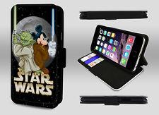 Mickey Mouse Joda Jedi Parody Star Wars Art Wallet Leather Phone Case Flip Cover