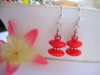 Opaque Red  Glass Disc Daisy Spacer Stacked Silver Dangle Earrings